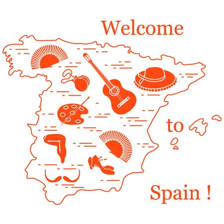Vectorillustratie met verschillende symbolen van Spanje gerangschikt in een cirkel. Reizen en vrije tijd. Ontwerp voor banner, poster of print.