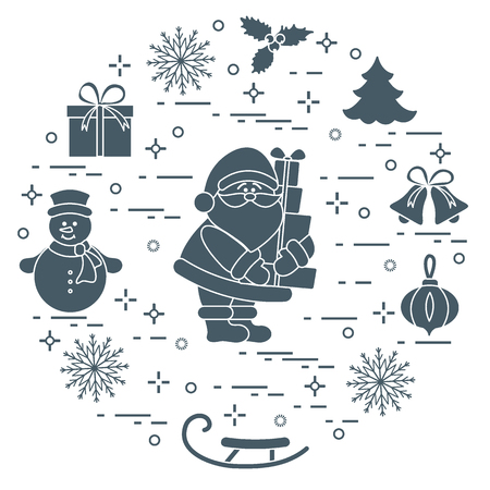 Santa Claus with presents and other New Year and Christmas symbols. Winter elements made in line style.