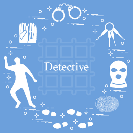 Criminal and detective elements. Crime, law and justice vector icons. Design for announcement, print. 向量圖像