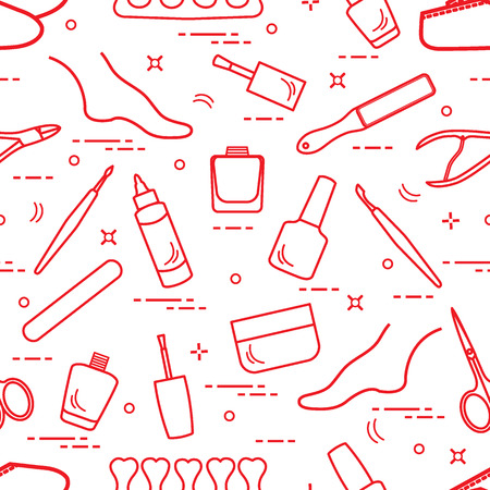 Pattern of manicure and pedicure tools and products for beauty and care. Design for banner, poster or print. Illustration