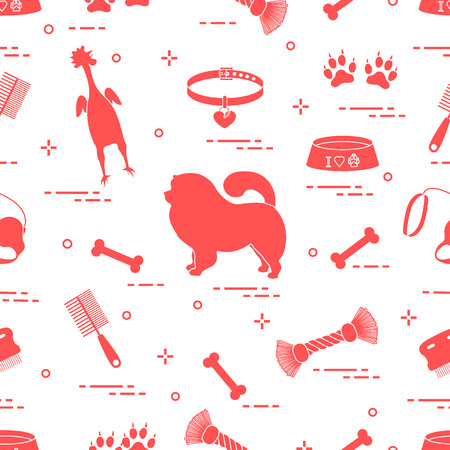 Pattern of silhouette chow-chow dog, bowl, bone, brush, comb, toys and other items to care for pet. Design for banner, poster or print. Illustration