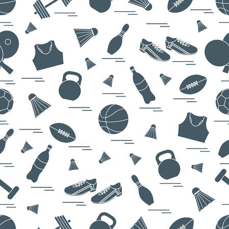 Seamless pattern on the sports theme. Vector illustration sports and fitness equipment. Series of Sporting Patterns. 矢量图像