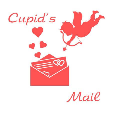 Cupid shoots a bow and envelope with Valentines card and hearts. Love symbol. Design for banner, poster or print. Illustration