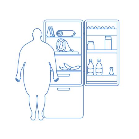 太った男は食べ物でいっぱいの冷蔵庫に立っている。有害な食習慣。バナーと印刷のためのデザイン。