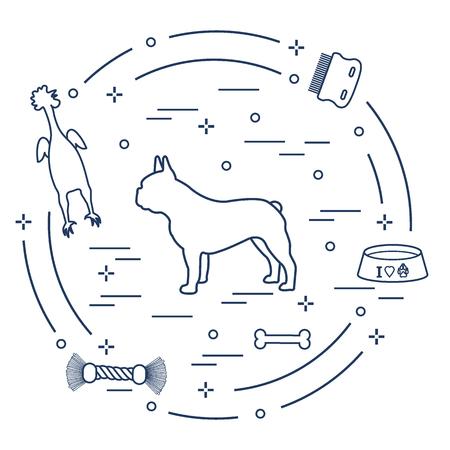 Silhouette of french bulldog, bowl, bone, brush, comb, toys. Design element for postcard, banner, poster or print.