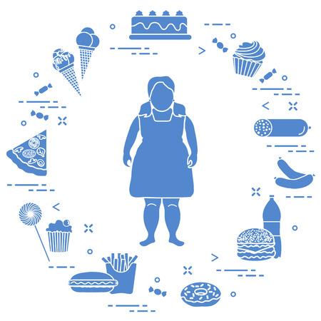 彼女の周りに不健康なライフスタイルのシンボルを持つ太った女の子。有害な食習慣。バナーと印刷のためのデザイン。