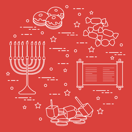 Jewish holiday Hanukkah: dreidel, sivivon, menorah, coins, donuts and other. Design for postcard, banner, poster or print. Illustration