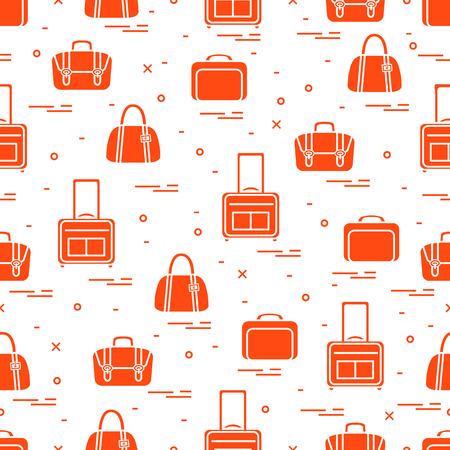 Cute seamless pattern with different bag and suitcases for travel. Summer time, vacation. Design for banner, poster or print.