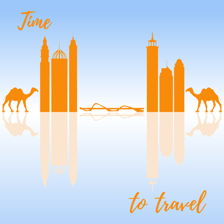 Famous skyscrapers of the world, bridge and camels. Buildings and symbols. Design for banner, poster or print. Illustration