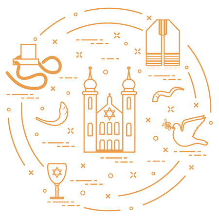 Jewish symbols: synagogue, sheeps horn, dove, davids star and other. Design for postcard, banner, poster or print.