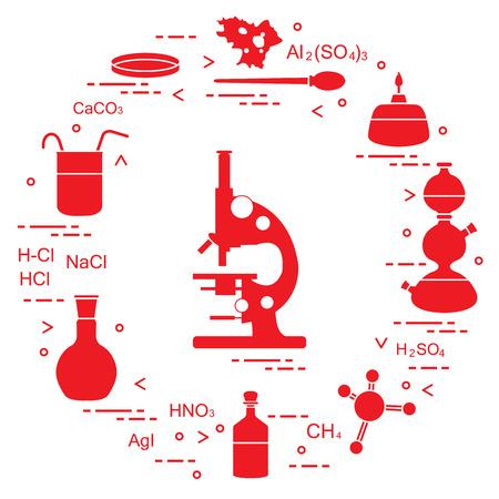 Chemistry scientific, education elements: microscope, Petri dish, dropper, flasks, camera Kippa, formulas, beaker, burner, amoeba. Design for banner, poster or print. Illustration