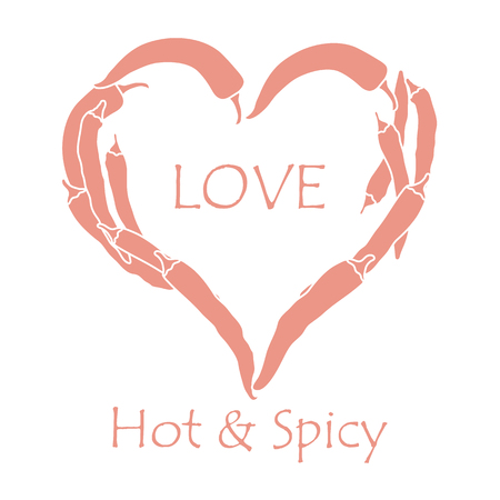 Heart of hot chili peppers. Design for banner, poster or print. Greeting card Valentines Day. Vectores