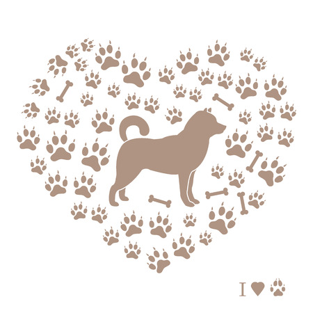 Shiba Inu silhouette on a background of dog tracks and bones in the form of heart. Design element for postcard, banner, poster or print.