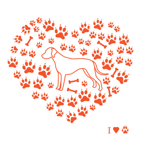 Dalmatian silhouette on a background of dog tracks and bones in the form of heart. Design element for postcard, banner, poster or print.