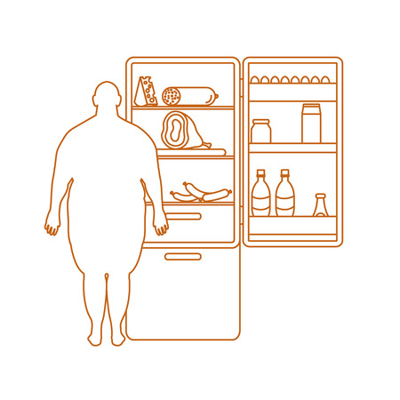 Fat man stands at the fridge full of food. Harmful eating habits. Design for banner and print.