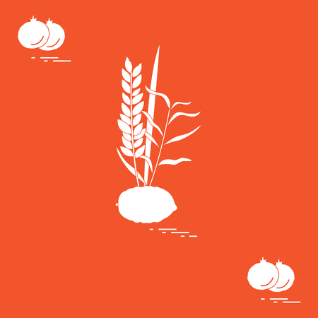 Pomegranate and Lulav - symbolic attribute of the holiday of Sukkot. Jewish traditions and symbols. Design for postcard, banner, poster or print. Illustration