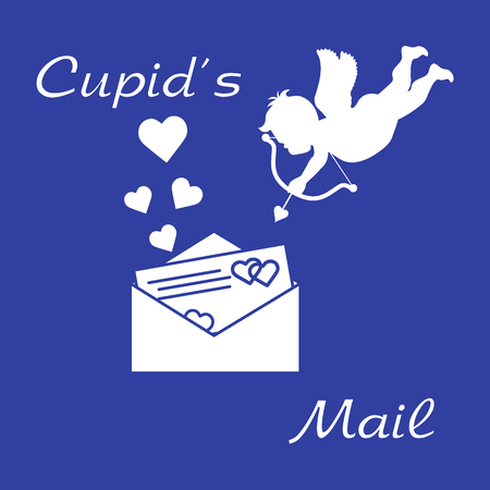 Banner design with cupid shoots a bow and envelope with Valentine's card and hearts.