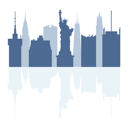 Silhouettes of Statue of Liberty, famous buildings and modern buildings in the USA. Tall buildings and skyscrapers.