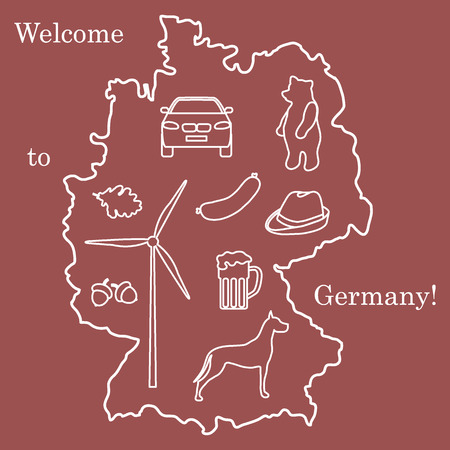 Vector illustration with various symbols of Germany. Travel and leisure. Design for banner, poster or print. Vettoriali