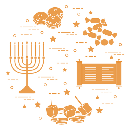 Jewish holiday Hanukkah: dreidel, sivivon, menorah, coins, donuts and other. Design for postcard, banner, poster or print. Ilustração