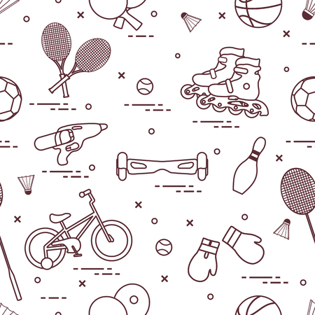 Pattern with bicycle, rollers, gyroscooter, boxing gloves, water pistol, and goods for bowling, table tennis, tennis, badminton, football, basketball. Sports and healthy lifestyle from childhood. Stock Illustratie