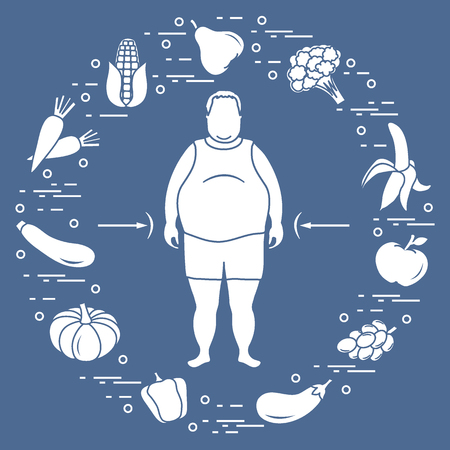 Fat man with healthy food around him. Healthy eating habits. Design for banner and print. 向量圖像