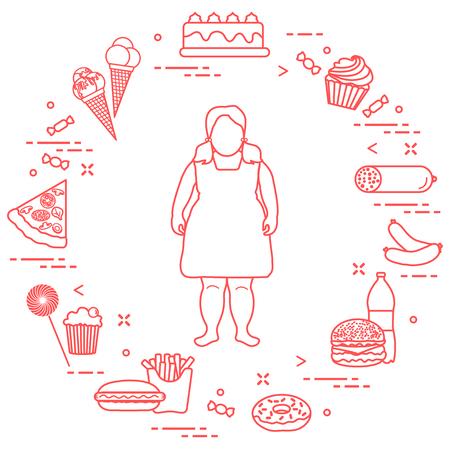 Fettes Mädchen mit ungesunden Lebensstil um ihn herum . Schädliche Essgewohnheiten . Design für Banner und Druck Standard-Bild - 94738688