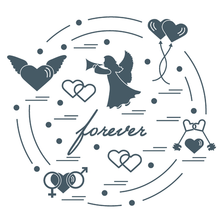 Cute vector illustration with different love symbols: hearts, air balloons, key, angel and other  arranged in a circle. Romantic collection. Illustration