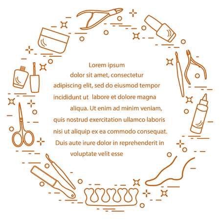 Silhouette of manicure and pedicure tools and products for beauty and care. Design element for postcard, banner, poster or print. 免版税图像 - 94738694