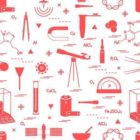 Seamless pattern with variety scientific, education elements: dividers, formula, test-tube, satellites, batteries and other. Design for banner, poster or print. Ilustrace