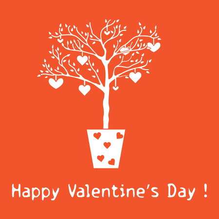 Creative tree with leaves and with hanging hearts. Greeting card Valentines. Design for banner, poster or print. Illustration