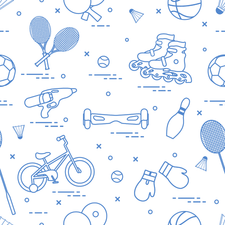 Pattern with bicycle, rollers, gyroscooter, boxing gloves, water pistol, and goods for bowling, table tennis, tennis, badminton, football, basketball. Sports and healthy lifestyle from childhood. Ilustracja