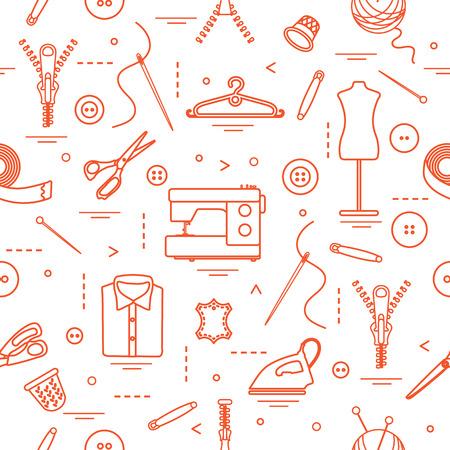 Naadloos patroon met hulpmiddelen en accessoires voor het naaien. Sjabloon voor ontwerp, stof, print.