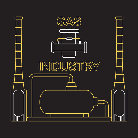 Gas processing plant. Gas filter. Design for announcement, advertisement, banner or print.
