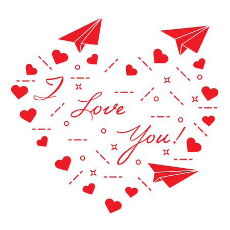 Paper airplane, hearts and inscription i love you. Template for design, fabric, print. Valentine's Day. Vettoriali