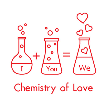 You and me and our chemistry of love. Design for banner, poster or print. Greeting card Valentines Day. Illustration