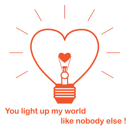 Glowing light bulb in the shape of a heart and the inscription. Design for banner, poster or print. Greeting card Valentines Day.