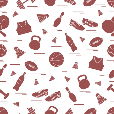 Seamless pattern on the sports theme. Vector illustration sports and fitness equipment. Series of Sporting Patterns.  イラスト・ベクター素材