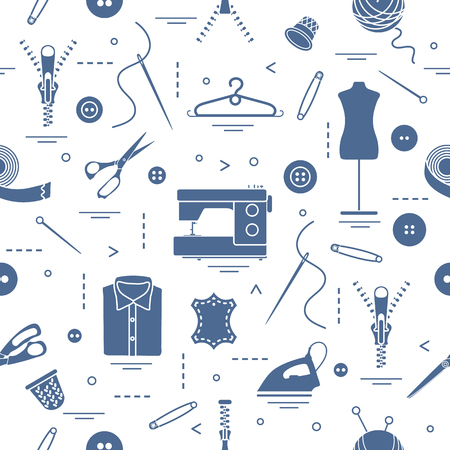 Seamless pattern with tools and accessories for sewing. Template for design, fabric, print. Banque d'images - 95164120