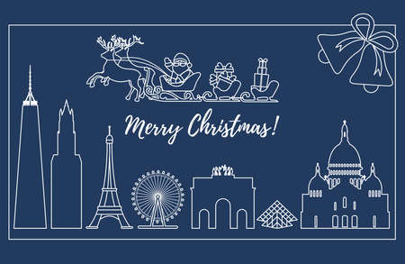 Santa Claus with Christmas presents in sleigh with reindeers over famous buildings and constructions of different countries. New Year and Christmas greeting card. Illustration