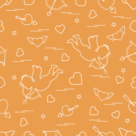 Cute seamless pattern with cupid shoots a bow and hearts. Love symbol. Design for banner, poster or print.   イラスト・ベクター素材
