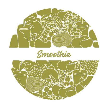 Smoothie and ingredients for making smoothie. Healthy eating habits. Design for banner and print. Illustration