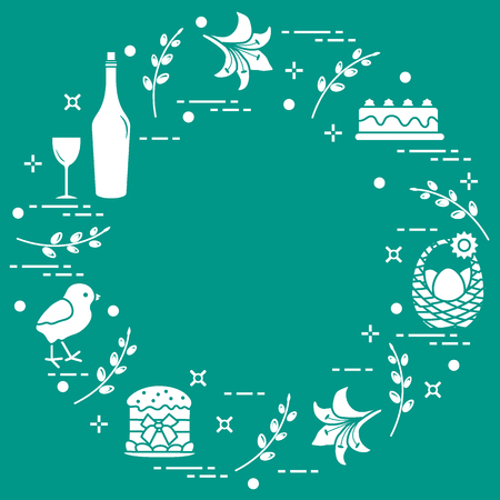 Different Easter symbols arranged in a circle: simnel cake, chick, lily, baskets, eggs and other. Design for banner, poster or print.  Illustration