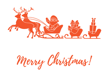 Santa Claus with Christmas presents in sleighs with reindeers. New Year and Christmas illustration. Design for greeting card, banner, poster or print.