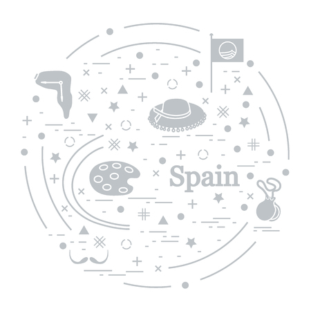 Vector illustration with various symbols of Spain arranged in a circle. Travel and leisure. Design for banner, poster or print.  イラスト・ベクター素材