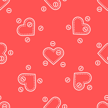 Cute seamless pattern with needle cases in shape of hearts and buttons. Template for design, fabric, print, Valentine's day.