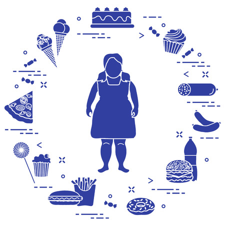 Fat girl with unhealthy lifestyle symbols around her. Harmful eating habits design for banner and print.
