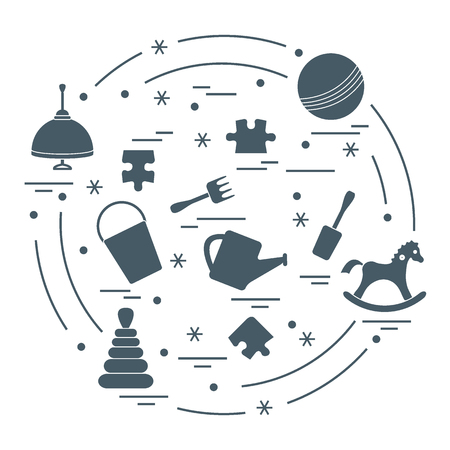 Kids elements vector illustration. arranged in a circle: whirligig, ball, puzzle, rocking horse, bucket, pyramid and other. Design element for postcard, banner, flyer, poster or print.