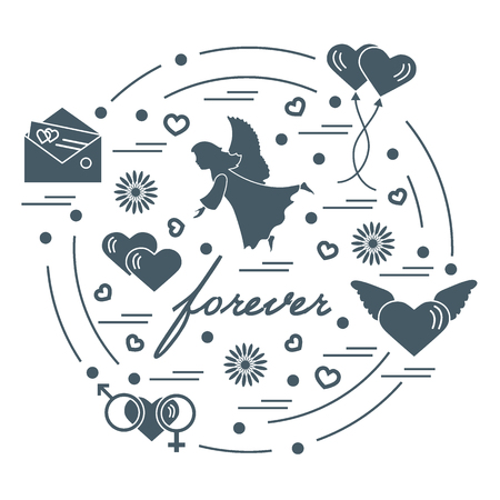 Cute vector illustration with different love symbols: hearts, air balloons, postal envelope, angel and other arranged in a circle. Romantic collection.