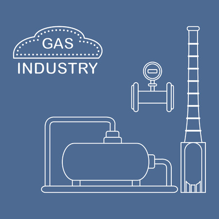 Gas processing plant. Industrial gas meter. Design for announcement, advertisement, banner or print. Vectores
